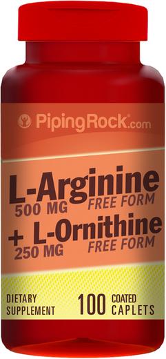 L-Arginina e Ornitina , 500/250 mg, 100 Comprimidos oblongos revestidos