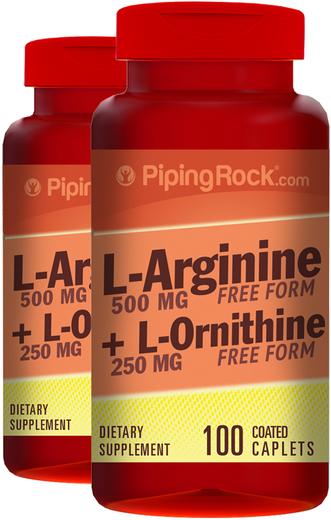 L-Arginina e Ornitina , 500/250 mg, 100 Comprimidos oblongos revestidos, 2  Frascos