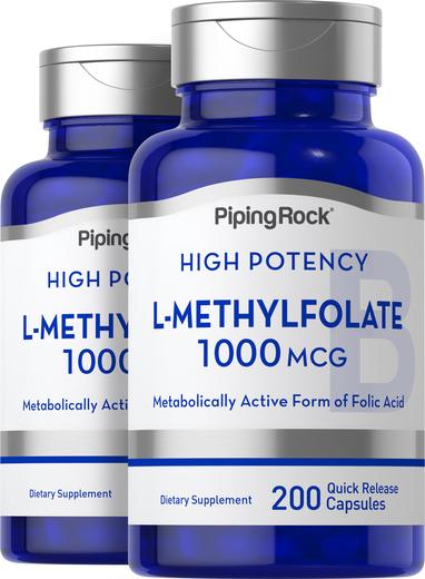 L-Methylfolate, 1000 mcg, 200 Capsules, 2  Bottles