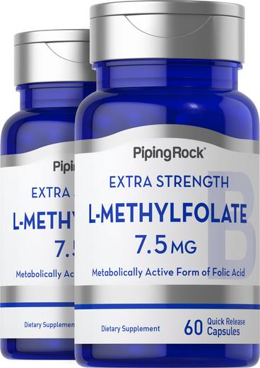 L-Methylfolate Supplement 7.5 mg 60 Capsules 2 Bottles