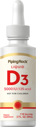 Liquid Vitamin D3 5000 IU, 2 fl oz (59 mL) Dropper Bottle