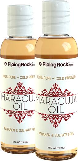 Óleo de maracujá 100% puro (pressão a frio), 4 fl oz (118 mL) Frascos, 2  Frascos