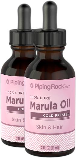 Óleo de marula 100% puro (óleo de sementes de maracujá), 2 fl oz (59 mL) Frasco conta-gotas, 2  Frascos conta-gotas