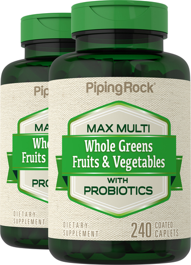 Max Whole Greens Fruits & Vegetables with Probiotics Multi (no Iron), 240 Caplets x 2 Bottles