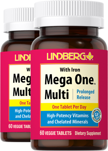 Mega One Multi with Iron (Prolonged Release), 60 Tabs x 2 Bottles