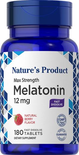 Melatonin 12 mg Natural Berry Flavor, 180 Tablets, 180 Tablets