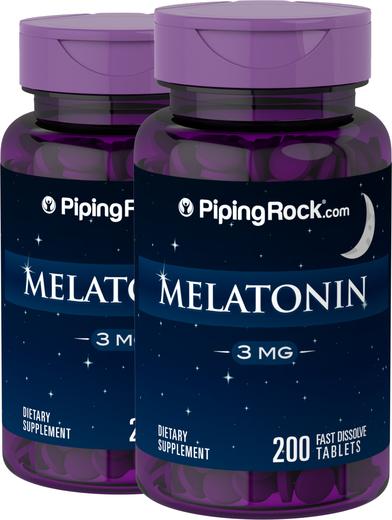 Melatonina , 3 mg, 200 Comprimidos de dissolução rápida, 2  Frascos