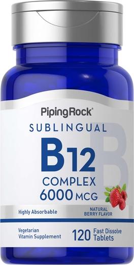 Complexo de metilcobalamina B12 (sublingual), 6000 mcg, 120 Comprimidos de dissolução rápida