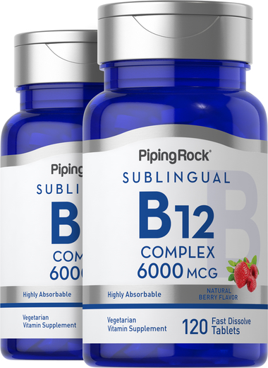 Complexo de metilcobalamina B12 (sublingual), 6000 mcg, 120 Comprimidos de dissolução rápida, 2  Frascos