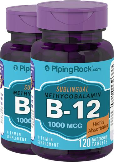 B-12 Methylcobalamin 1000mcg Sublingual 2 Bottles x 120 Fast Dissolve Tablets