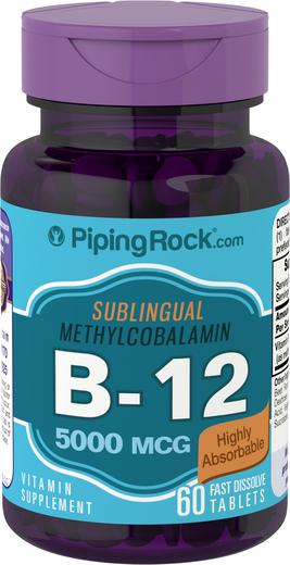 Metilcobalamina B12 (sublingual), 5000 mcg, 60 Comprimidos de dissolução rápida