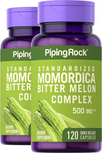Momordica Bitter Melon Standardized 500 mg, 120 Capsules x 2 Bottles