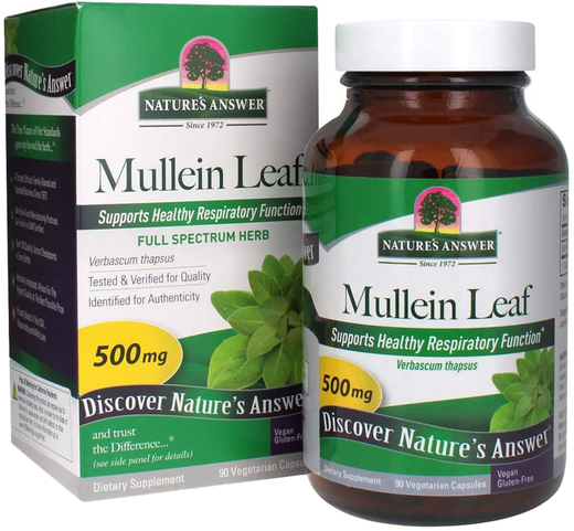 Mullein Leaf 500 mg (per serving), 90 Vegetarian Capsules