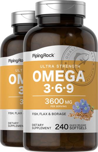 Multi Omega 3-6-9 Fish, Flax & Borage 2 Bottles x 240 Softgels