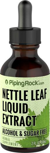 Extrato líquido de folhas de urtiga sem álcool, 2 fl oz (59 mL) Frasco conta-gotas