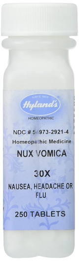Nux Vomica 30X Homeopathic Formula for Nausea, Headache or Flu, 250 Tablets
