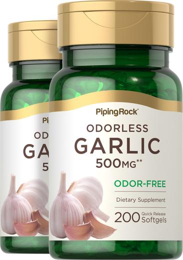 Garlic 500 mg Odorless 2 Bottles x 200 Softgels