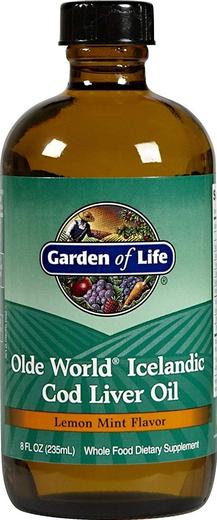 Islandzki olej z wątroby dorsza Olde World w płynie (cytryna, mięta) 8 fl oz (236 mL) Butelka