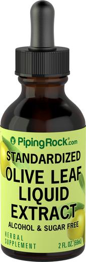 Extrato líquido de folhas de oliveira sem álcool, 2 fl oz (59 mL) Frasco conta-gotas