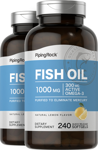 Omega-3 Fish Oil 1000 mg Lemon Flavor 2 x 240 Softgels