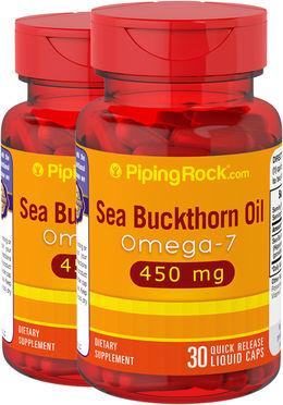 Óleo de baga de espinheiro marítimo com ómega-7 , 450 mg, 30 Cápsulas líquidas, 2  Frascos