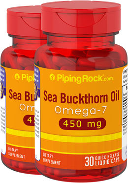 Omega-7 Sea Buckthorn Oil 450 mg 2 Bottles x 30 Liquid Caps