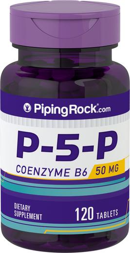 P-5-P (piridoxal 5-fosfato) Vitamina B6 com coenzima, 50 mg, 120 Comprimido