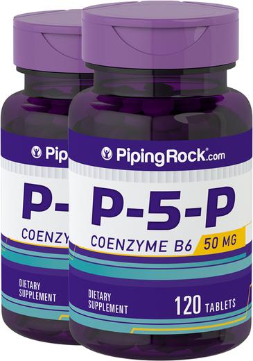 P-5-P (piridoxal 5-fosfato) Vitamina B6 com coenzima, 50 mg, 120 Comprimido, 2  Frascos