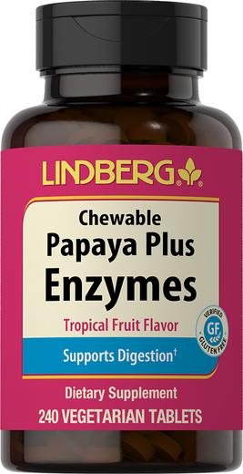 Enzym Papaya Plus do żucia (owoce tropikalne) 240 Tabletki wegetariańskie