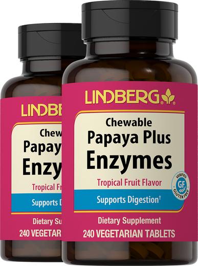 Papaya Plus Enzyme Chewable (Tropical Fruit), 240 Vegetarian Tablets
