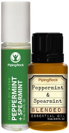 Peppermint-Spearmint Essential Oil Combo Pack 1/2 oz (15 ml) Dropper Bottle + 10 mL (0.33 fl oz) Rol