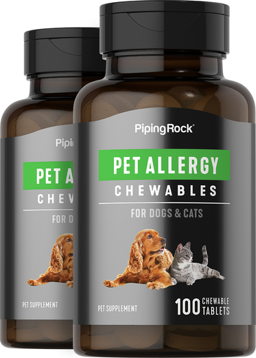 Pet Allergy for Dogs & Cats 100 Chewable Tablets x 2 Bottles