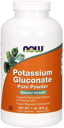 Pó de gluconato de potássio, 1 lb (454 g) Frasco