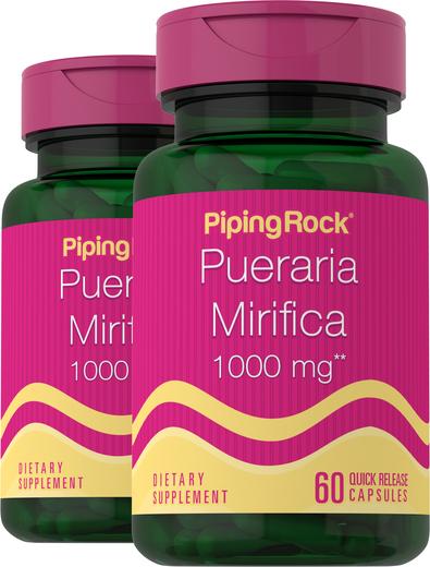 Pueraria Mirifica 1000 mg, 60 Capsules x 2 Bottles