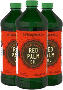 Óleo de palma vermelho (extra virgem), 16 fl oz (473 mL) Frascos, 3  Frascos