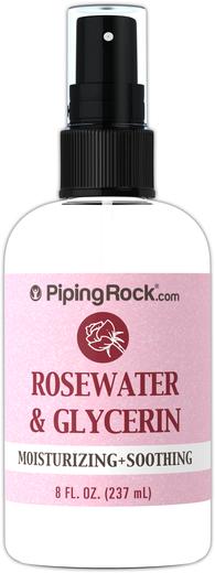 Água de rosas e glicerina, 8 fl oz (237 mL) Frasco pulverizador