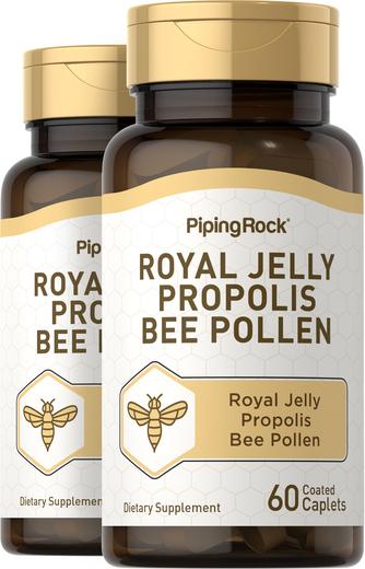 Geleia real, própolis e pólen de abelha, 60 Comprimidos oblongos revestidos, 2  Frascos
