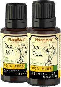 Rue 100% Pure Essential Oil 2 Dropper Bottles x 1/2 oz (15 ml)