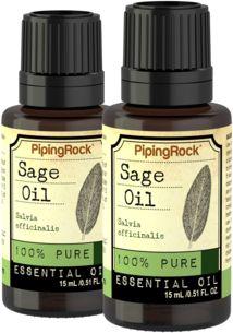 Sage 100% Pure Essential Oil 2 Dropper Bottles x  1/2 fl oz (15 ml)