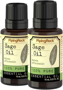 Sage 100% Pure Essential Oil 2 Dropper Bottles x  1/2 fl oz (15 ml)