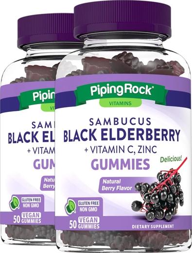 Sambucus Black Elderberry plus C & Zinc (Natural Berry), 50 Gummies x 2 Bottles