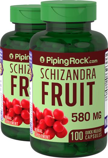 Schizandra (Berry) Fruit 580 mg 2 Bottles x 100 Capsules