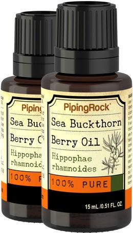 Sea Bukthorn Berry Oil 2 Dropper Bottles x 1/2 fl oz 100% Pure Therapeutic Grade