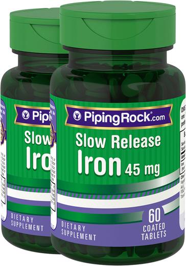 Ferro de libertação lenta , 45 mg, 60 Comprimidos revestidos, 2  Frascos