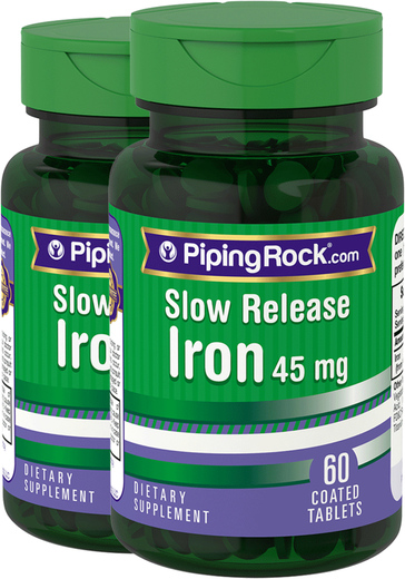 Slow Release Iron 45 mg 2 Bottles x 60 Coated Tablets