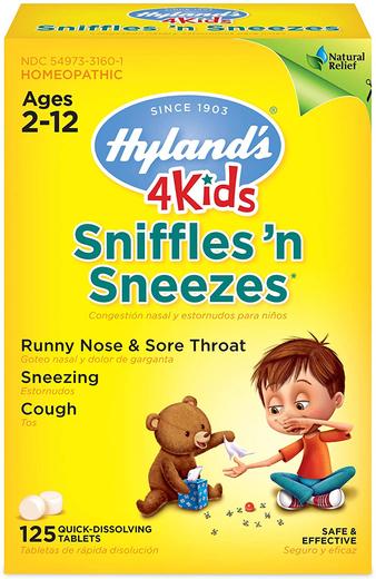 Sniffles N Sneezes Infantil para Espirros e Coriza, 125 Comprimidos