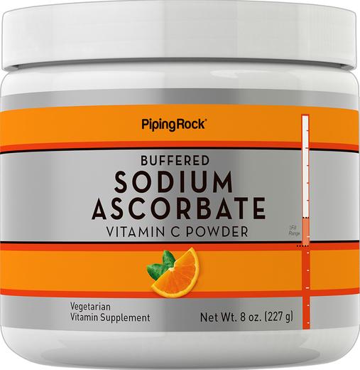 Pó de ascorbato de sódio tamponado de vitamina C, 8 oz (227 g) Frasco