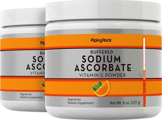 Pó de ascorbato de sódio tamponado de vitamina C, 8 oz (227 g) Frascos, 2  Frascos