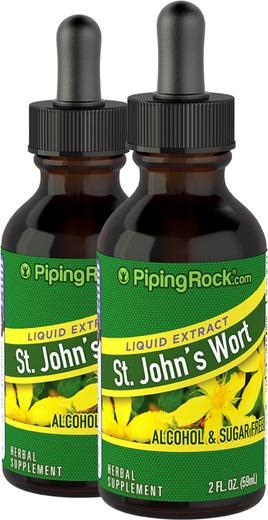 St. John's Wort Liquid Herbal Extract 2 Dropper Bottles x 2 fl oz (59 mL)