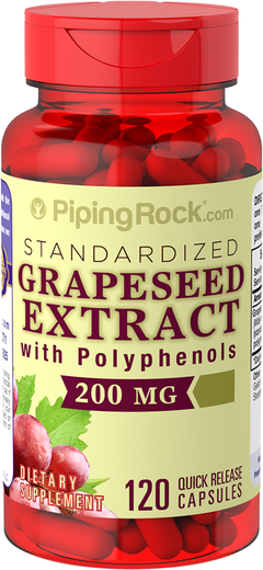 Standardized Grapeseed Extract with Polyphenols 200 mg 120 Capsules
